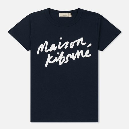 Женская футболка Maison Kitsune Handwriting Navy