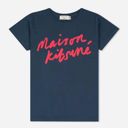 Maison Kitsune Handwritting Women's T-shirt Blue Storm