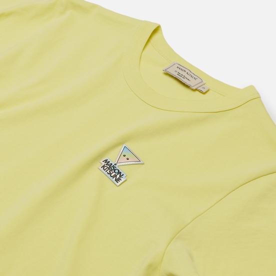 Женская футболка Maison Kitsune Hologram Triangle Fox Patch Lemon