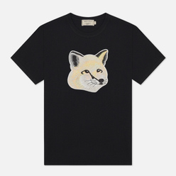 Женская футболка Maison Kitsune Pastel Fox Head Embroidery Black