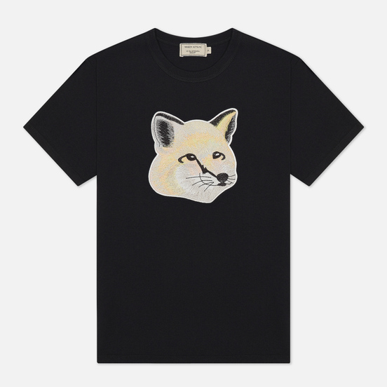 Женская футболка Maison Kitsune Pastel Fox Head Embroidery Black