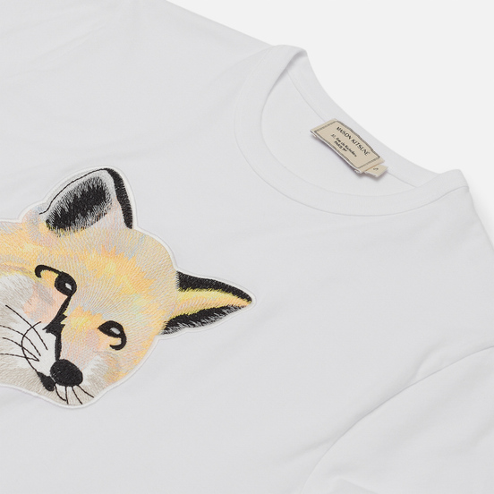 Женская футболка Maison Kitsune Pastel Fox Head Embroidery Off White