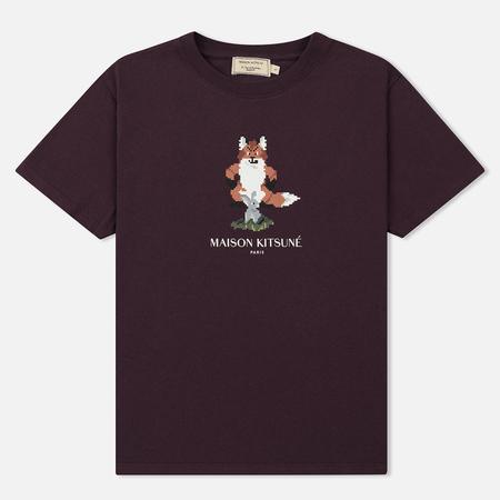 Женская футболка Maison Kitsune Pixel Fox Burgundy