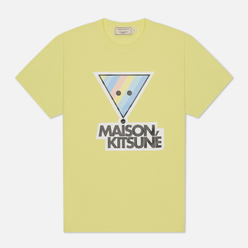 Женская футболка Maison Kitsune Rainbow Triangle Fox Print Lemon