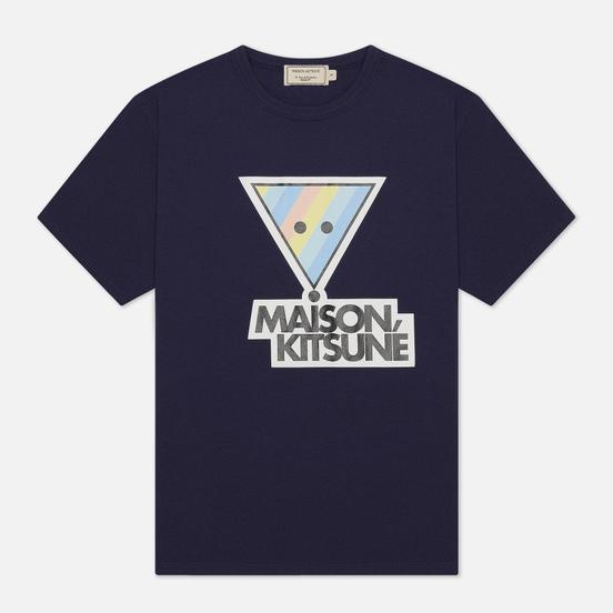 Женская футболка Maison Kitsune Rainbow Triangle Fox Print Navy