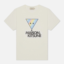 Женская футболка Maison Kitsune Rainbow Triangle Fox Print White