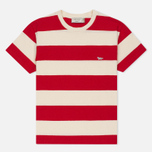 Женская футболка Maison Kitsune Stripes Ecru/Red фото- 0