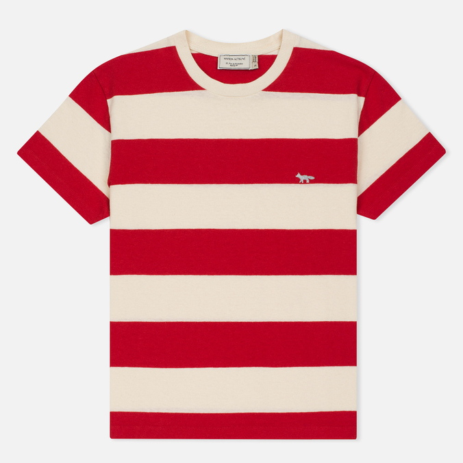 Женская футболка Maison Kitsune Stripes Ecru/Red