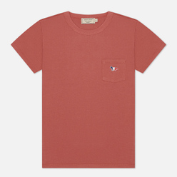 Женская футболка Maison Kitsune Tricolor Fox Patch Dark Pink
