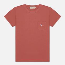 Женская футболка Maison Kitsune Tricolor Fox Patch Dark Pink