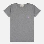 Женская футболка Maison Kitsune Tricolor Fox Patch Grey Melange фото- 0
