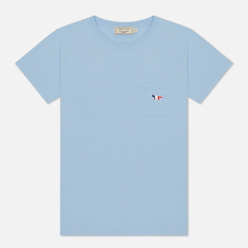 Женская футболка Maison Kitsune Tricolor Fox Patch Light Blue