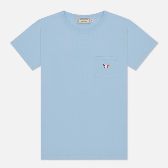 Женская футболка Maison Kitsune Tricolor Fox Patch Light Blue