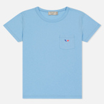 Женская футболка Maison Kitsune Tricolor Fox Patch Light Blue фото- 0