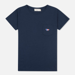 Женская футболка Maison Kitsune Tricolor Fox Patch Navy фото- 0