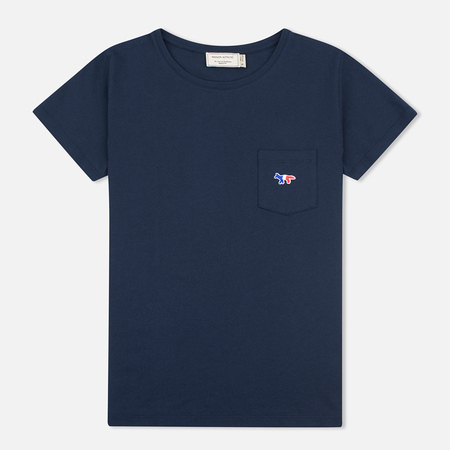 Maison Kitsune Tricolor Fox Patch Women's T-shirt Navy