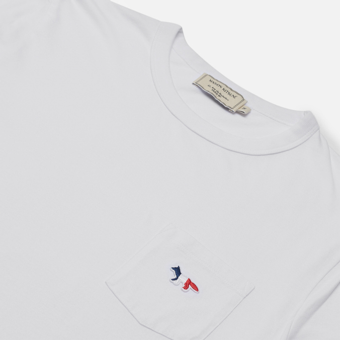 Женская футболка Maison Kitsune Tricolor Fox Patch White