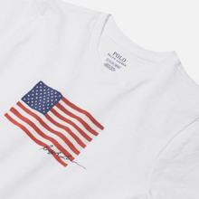 Женская футболка Polo Ralph Lauren American Flag 20/1 Uneven Cotton Jersey White фото- 1