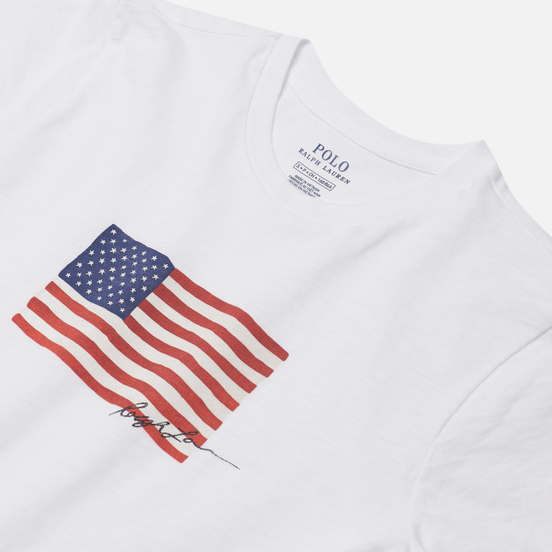 Женская футболка Polo Ralph Lauren American Flag 20/1 Uneven Cotton Jersey White
