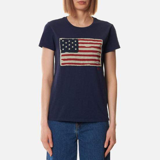 Женская футболка Polo Ralph Lauren American Flag Print Classic Royal