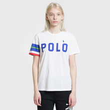 Женская футболка Polo Ralph Lauren Big Polo Print And Stripe Sleeve White фото- 1