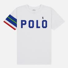 Женская футболка Polo Ralph Lauren Big Polo Print And Stripe Sleeve White фото- 0