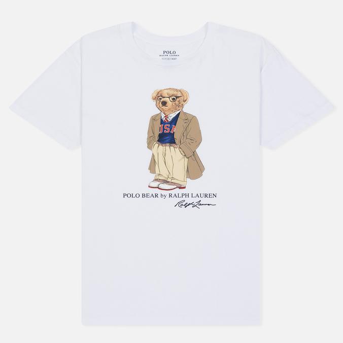 Женская футболка Polo Ralph Lauren Big Teddy Bear In Coat White