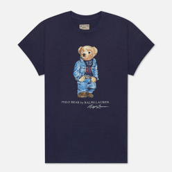 Женская футболка Polo Ralph Lauren Denim Bear 30/'S Uneven Cotton Jersey Classic Royal