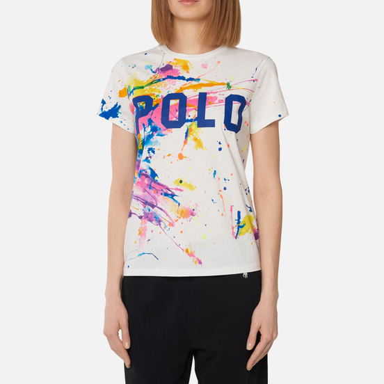 Женская футболка Polo Ralph Lauren Paint Slpatter Polo 30/1 Cotton Jersey Multicolor