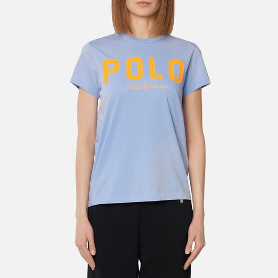 Женская футболка Polo Ralph Lauren Polo Printed 30/1 Cotton Jersey Dress Shirt Blue