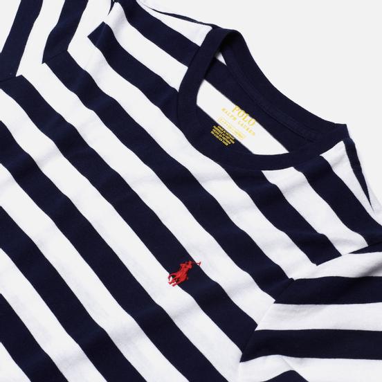 Женская футболка Polo Ralph Lauren Stripe Polo Pony Mini Logo Cruise Navy/White