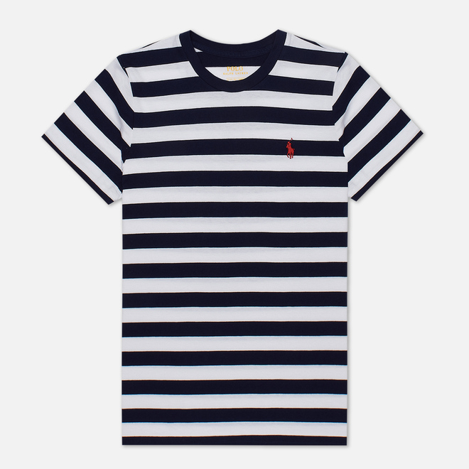 Женская футболка Polo Ralph Lauren Stripe Polo Pony Mini Logo Cruise Navy/White