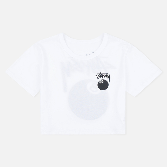 Женская футболка Stussy 8 Ball Classic Cropped White