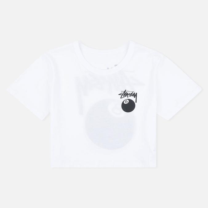 Stussy 8 Ball Classic Cropped Women's t-shirt White