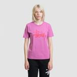 Женская футболка Stussy Basic Logo Berry фото- 2