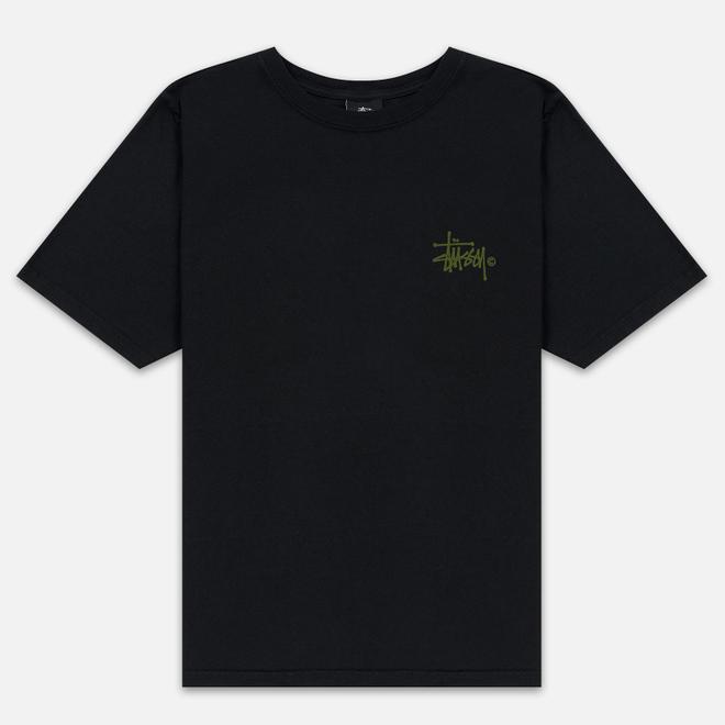 Женская футболка Stussy Basic Logo Pigment Dyed Black/Green