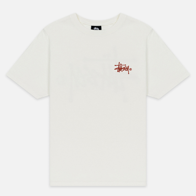 Женская футболка Stussy Basic Logo Pigment Dyed Natural/Red