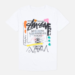 Stussy WT Doodle Cuffed Crew Women's t-shirt White photo- 0