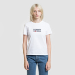 Женская футболка Tommy Jeans Corp Logo Classic White фото- 1