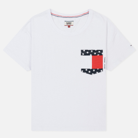 Женская футболка Tommy Jeans Flag Pocket Bright White