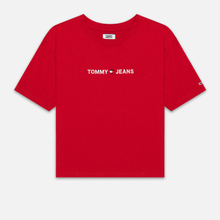 Женская футболка Tommy Jeans Linear Logo Detail Racing Red фото- 0