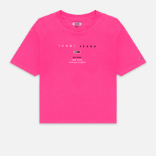 Женская футболка Tommy Jeans Small Logo Text 1985 Cropped Fit Pink Glo фото- 0