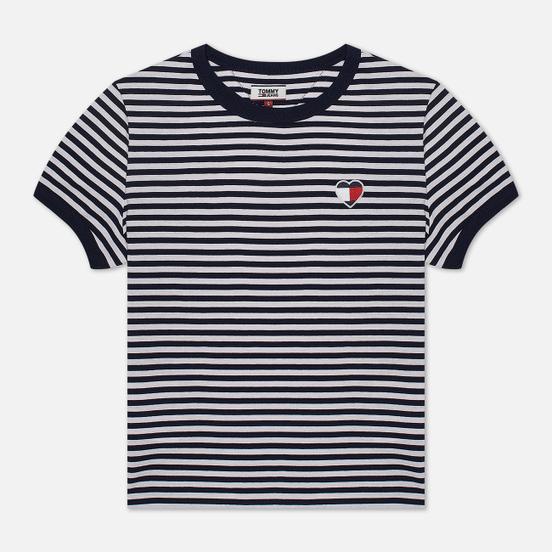 Женская футболка Tommy Jeans Stripe Heart Classic White/Black Iris