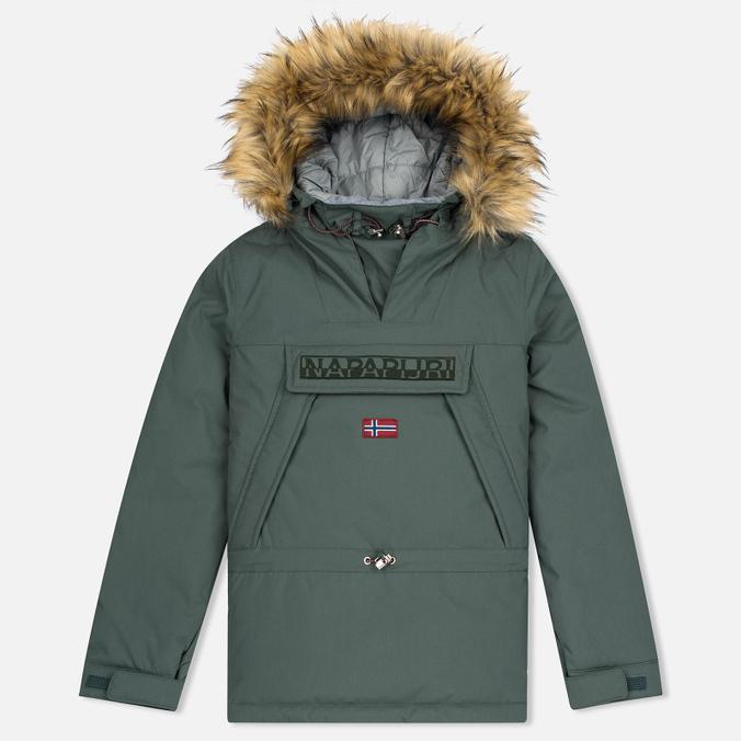 Женская куртка анорак Napapijri Skidoo Eco-Fur Grey/Green