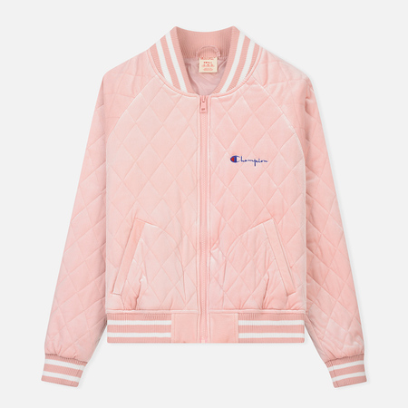 Женская куртка бомбер Champion Reverse Weave Velour Quilted Pink