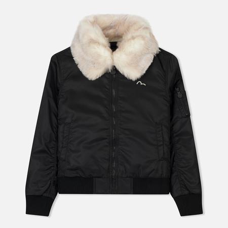 Женская куртка бомбер Evisu Fur Collar Back Embroidered Black