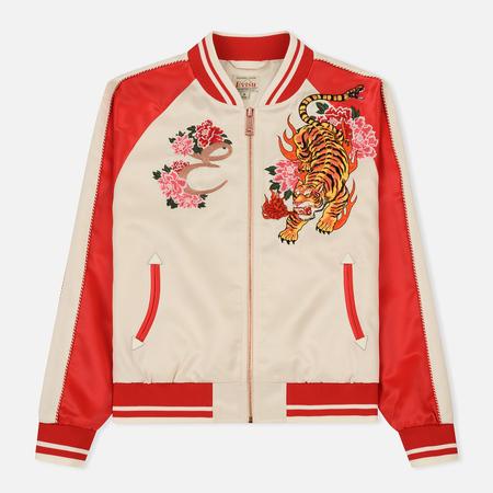 Женская куртка бомбер Evisu Souvenir Nue N Floral N Evisu Embroidered Ecru/Red