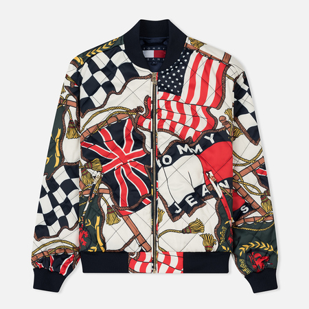 Женская куртка бомбер Tommy Jeans 90's All Over Print Bright White/Multi
