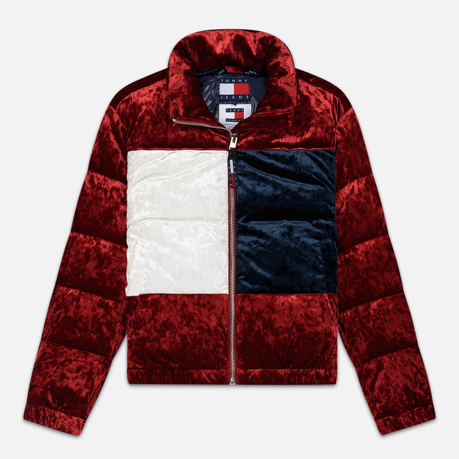 Женский пуховик Tommy Jeans Flag Velour Puffer Jester Red/Multi
