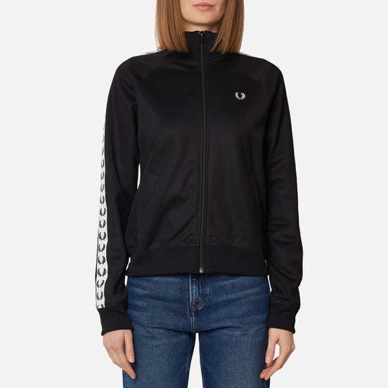 Женская олимпийка Fred Perry Sports Authentic Taped Track Black/White